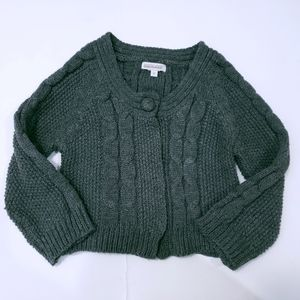 Cable Knit Cropped Sweater Grey Genevieve Lapierre